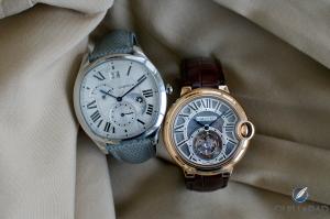 Replicas Relojes Cartier Drive (izquierda) y Ballon Bleu Tourbillon